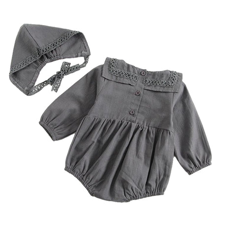 Bella Square Collar Long Sleeve Romper + Bonnet - Slate Grey