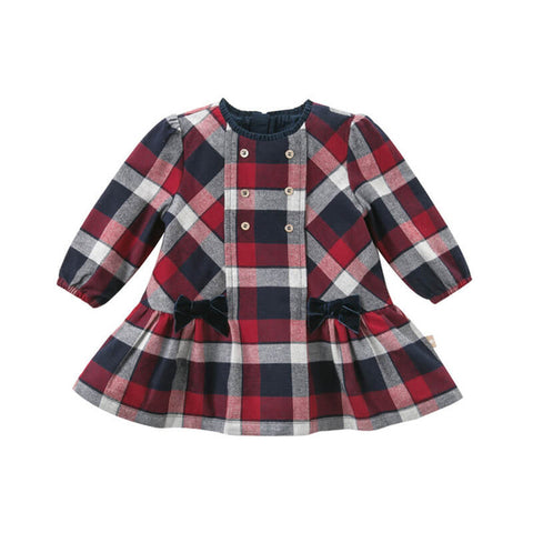 Elena Red + Navy Plaid Dress
