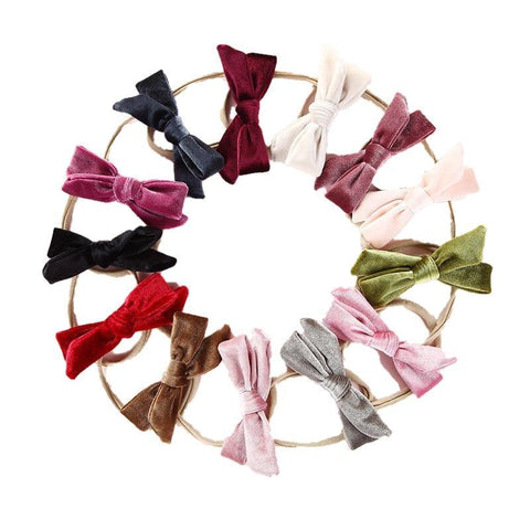 Laurel Velvet Bow Nylon Headbands - Various Colors