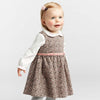 Image of Callie Pink Velvet Bow Floral Corduroy Dress