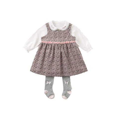 Callie Pink Velvet Bow Floral Corduroy Dress