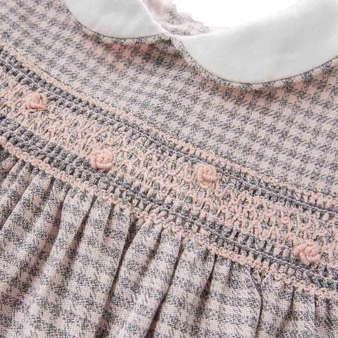 Brielle Pink + Grey Plaid Embroidered Dress