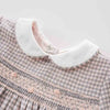 Image of Brielle Pink + Grey Plaid Embroidered Dress