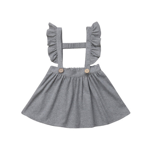 Clara Ruffled Suspender Dress - Grey
