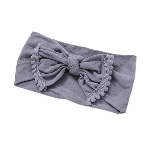 Alicia Nylon Pom Pom Headband - Grey