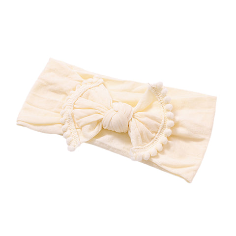 Alicia Nylon Pom Pom Headband - Cream