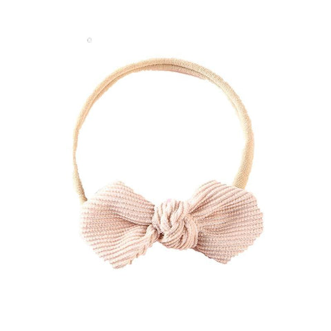 Nadia Corduroy Bow Nylon Headband - Cream
