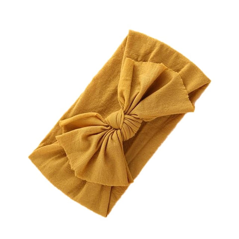 Laura Nylon Bow Knot Headband - Mustard