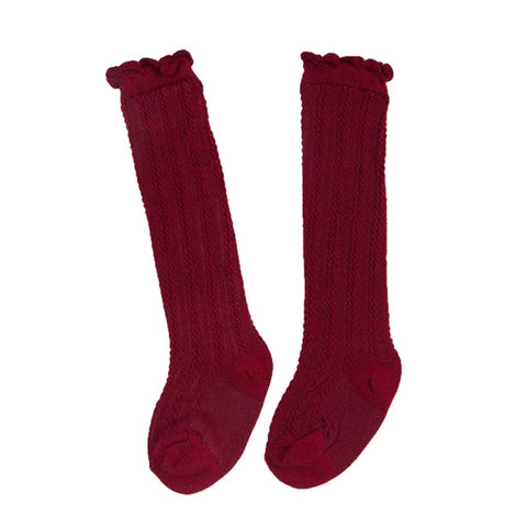 Tiffany Cotton Knee High Socks - Burgundy