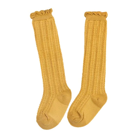 Tiffany Cotton Knee High Socks - Mustard