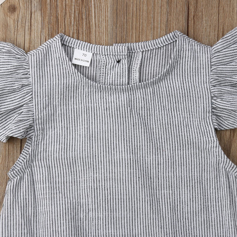 Brielle Grey + White Stripe Romper