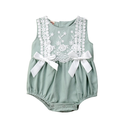 Carly Lace + Bows Sleeveless Romper - Mint