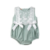 Image of Carly Lace + Bows Sleeveless Romper - Mint