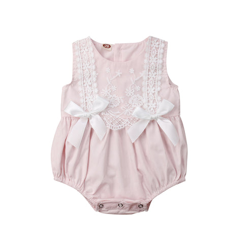 Carly Lace + Bows Sleeveless Romper - Pink