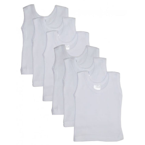 Baby Basics White Ribbed Tank Tops - 6 pack