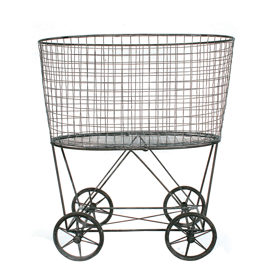 VINTAGE METAL LAUNDRY BASKET