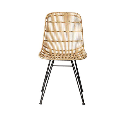 NATURAL BRAIDED RATTAN CHAIR WITH BLACK METAL FRAME