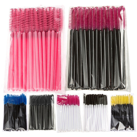 BSEL Hot Sale 7color 50PCS/set  Applicator Spoolers Makeup Brush Tool Cosmetic Eyelash Extension Disposable Mascara Wand