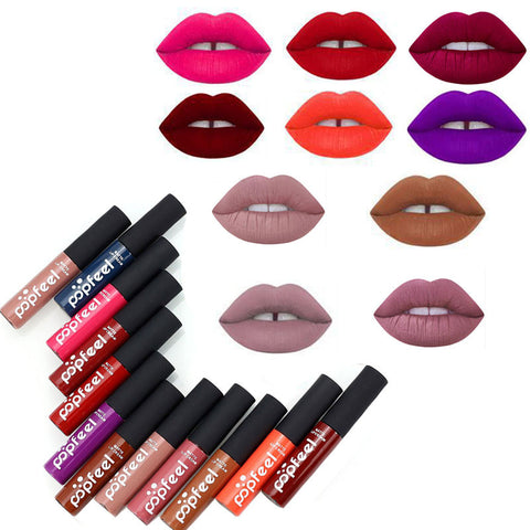 12 Colors Tint liquid Lipstick Matte Lip Gloss Red Velvet Waterproof Long Lasting Lipgloss Sexy Lipstick Tattoo Makeup Brand