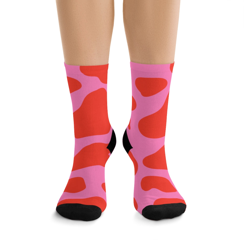 PINK COW PRINT SOCKS