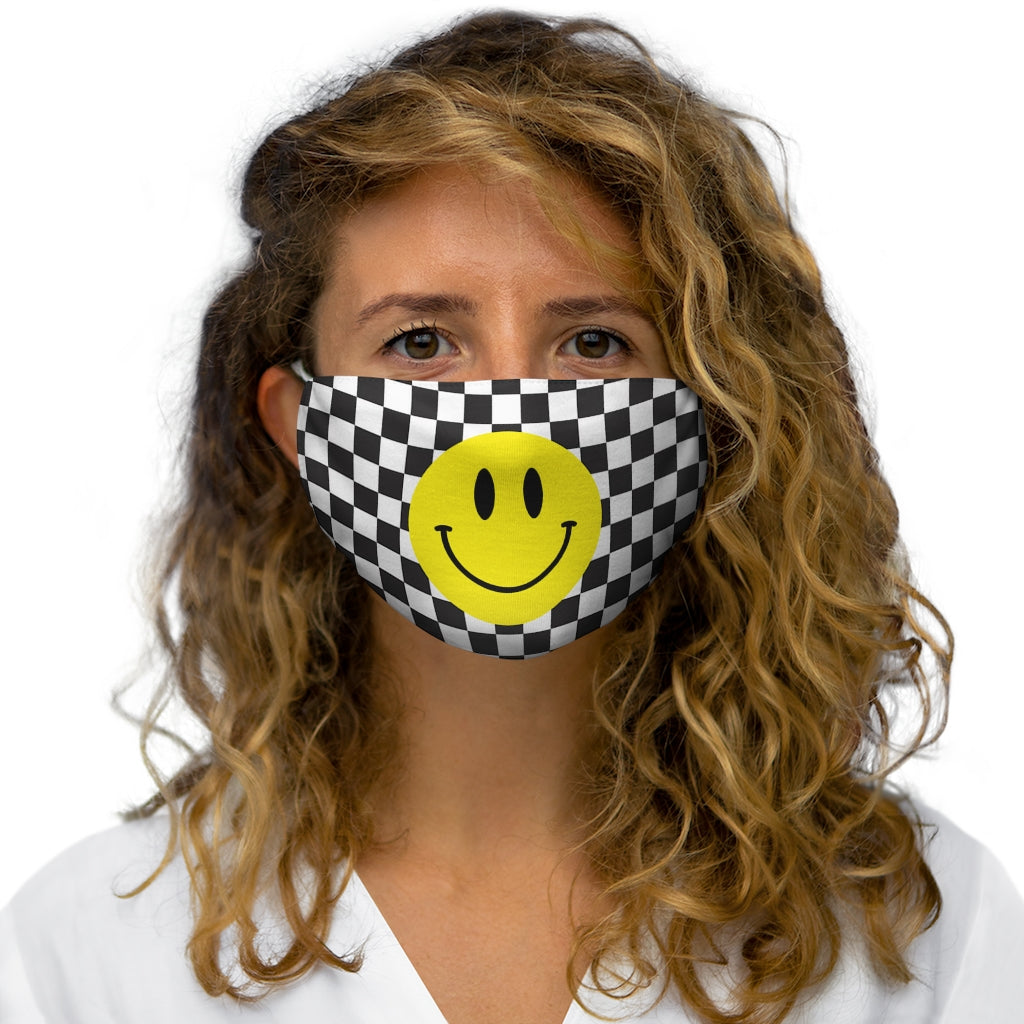 HAPPY CHECKERED FACE MASK