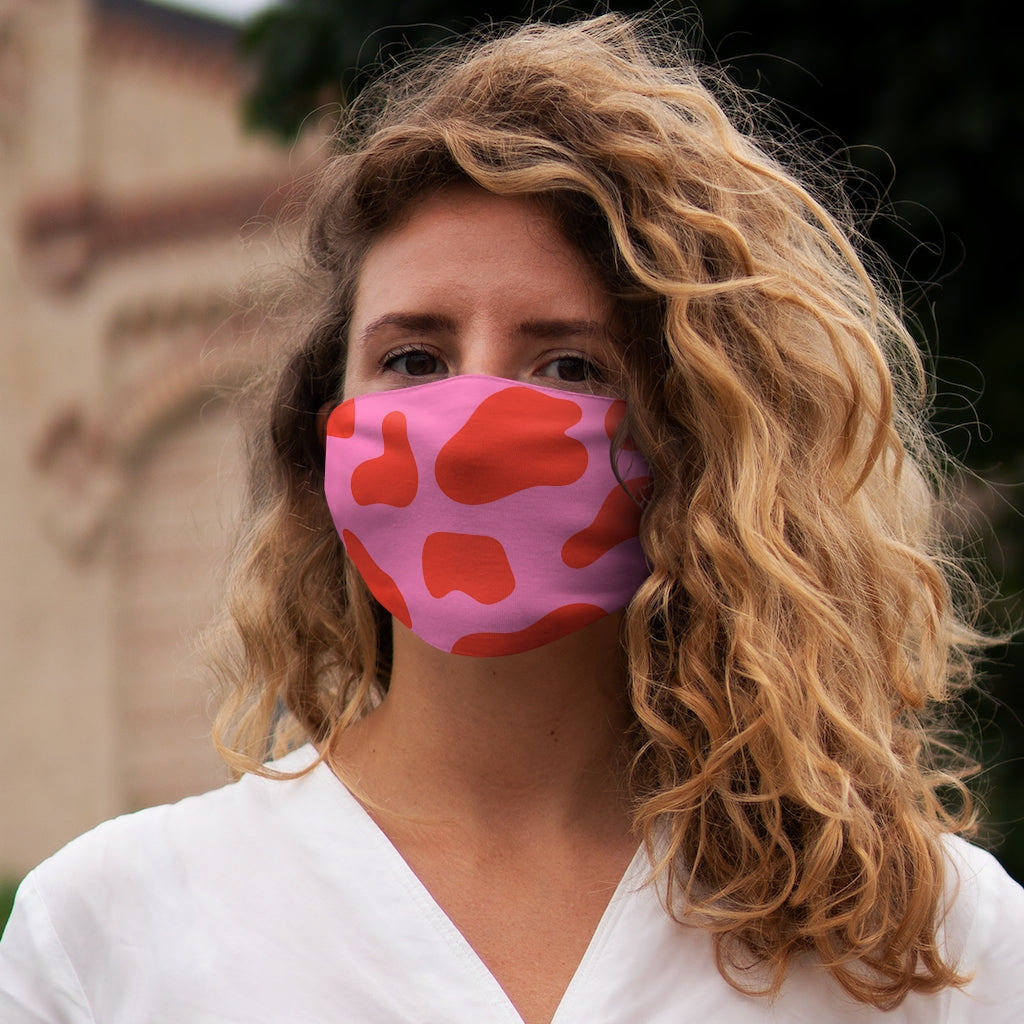 PINK COW PRINT FACE MASK