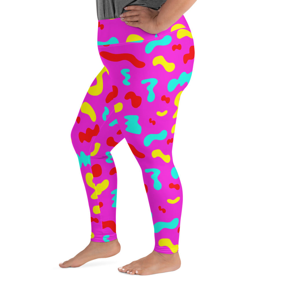 PINK SQUIGGLE PLUS SIZE LEGGINGS