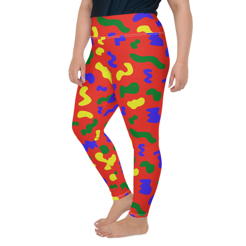 RED SQUIGGLE PLUS SIZE LEGGINGS