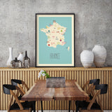Customized Country Travel Map in Blue