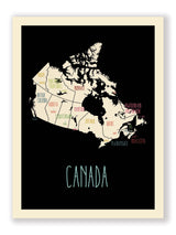 Customized Country Travel Map in Black