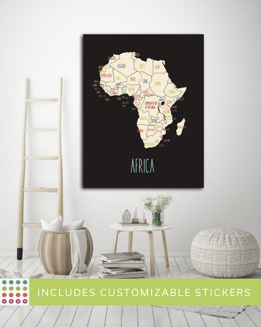 Customized Continent Travel Maps in Black