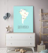 Customized Continent Travel Maps in Blue