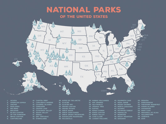 US National Parks Map Print – Global Guardian Project