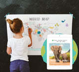 Protect the Earth One Year Membership + World Map Coloring Poster