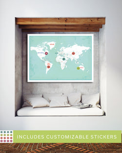 Personalized Aqua World Map Print
