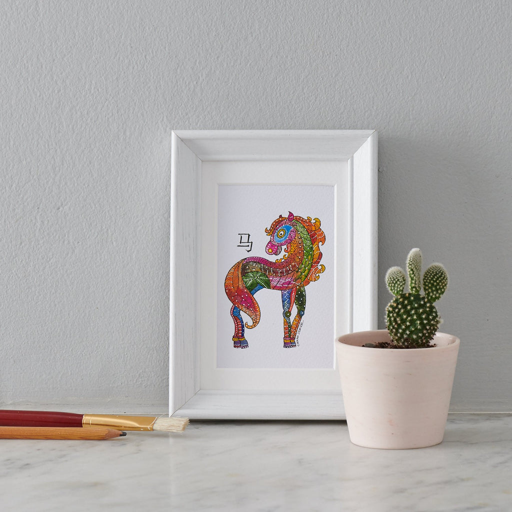 Chinese Zodiac Sign, Animal painting Horse art - PATA  Art & Design