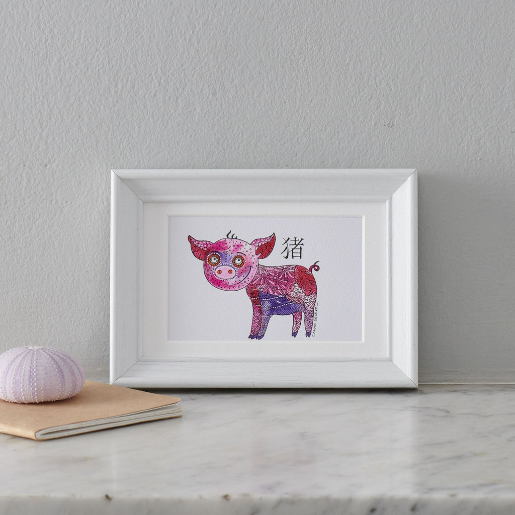 Miniature Painting, Animal painting Pig Art, Original Acrylic Painting - PATA  Art & Design