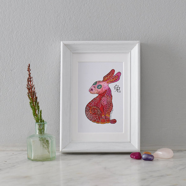 Original Acrylic Painting, Animal painting Bunny Art - PATA  Art & Design