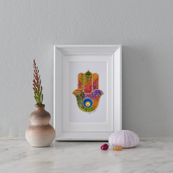 Hamsa Hand Miniature Painting I - PATA  Art & Design
