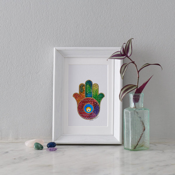 Hamsa Hand Miniature Painting III - PATA  Art & Design