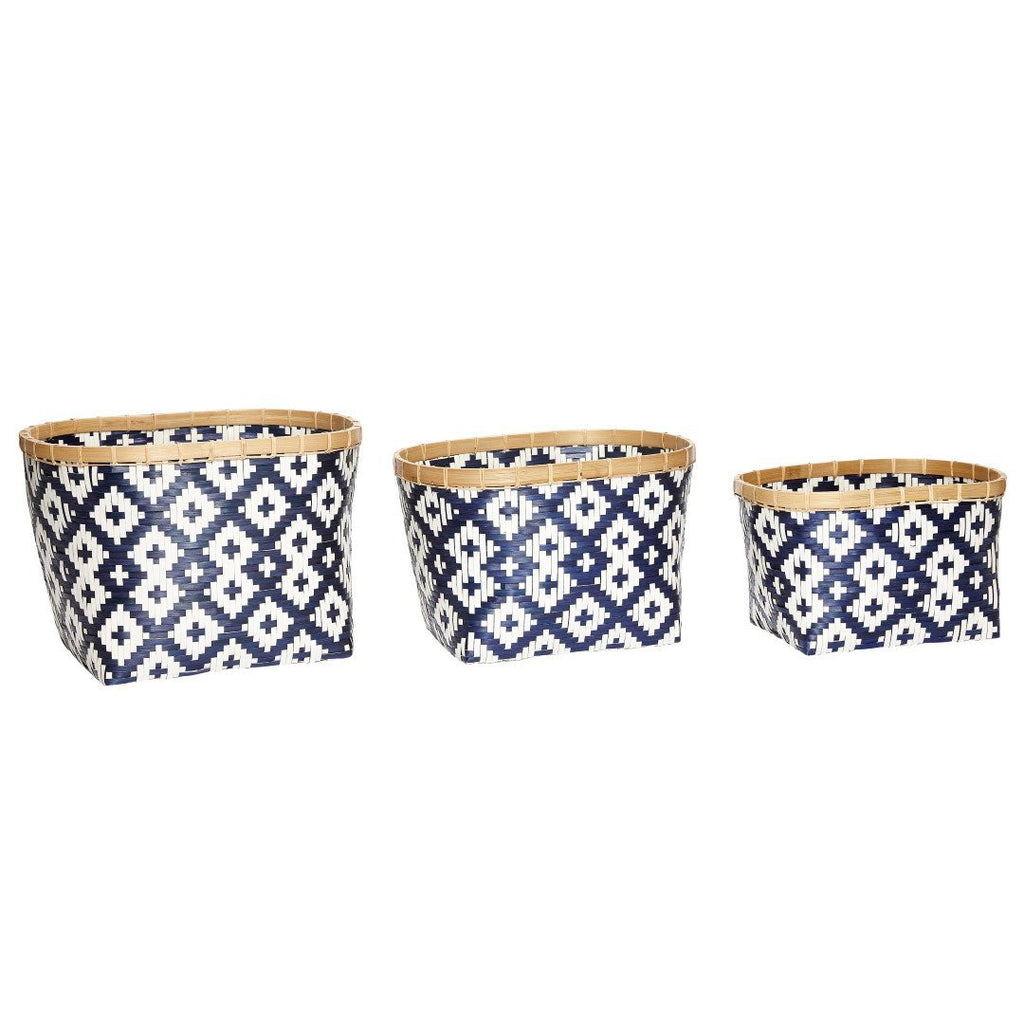 Basket, rattan/bamboo, white/blue/nature, set of 3