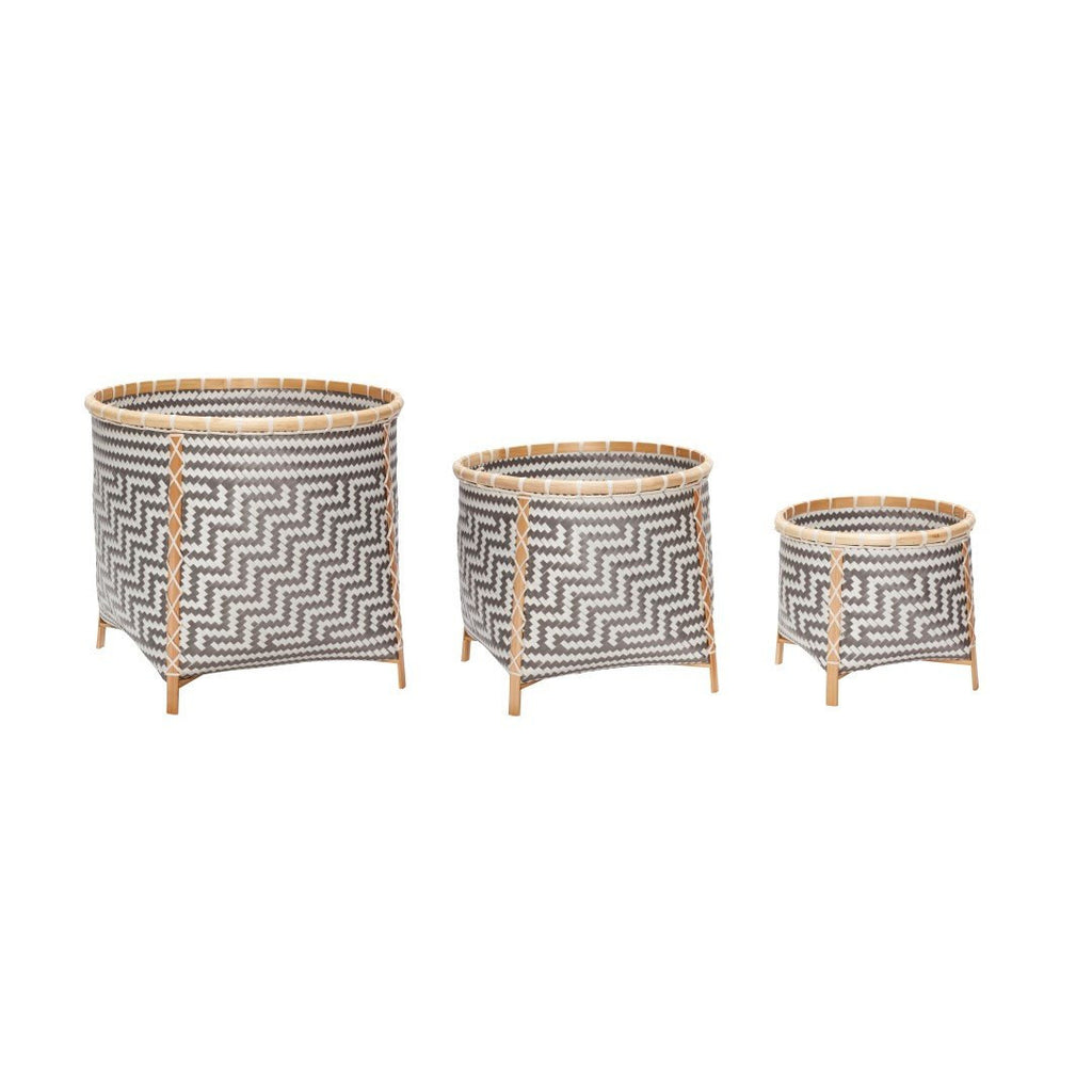 Basket with legs, raffia-weave, bamboo, white/blue/nature, set of 3