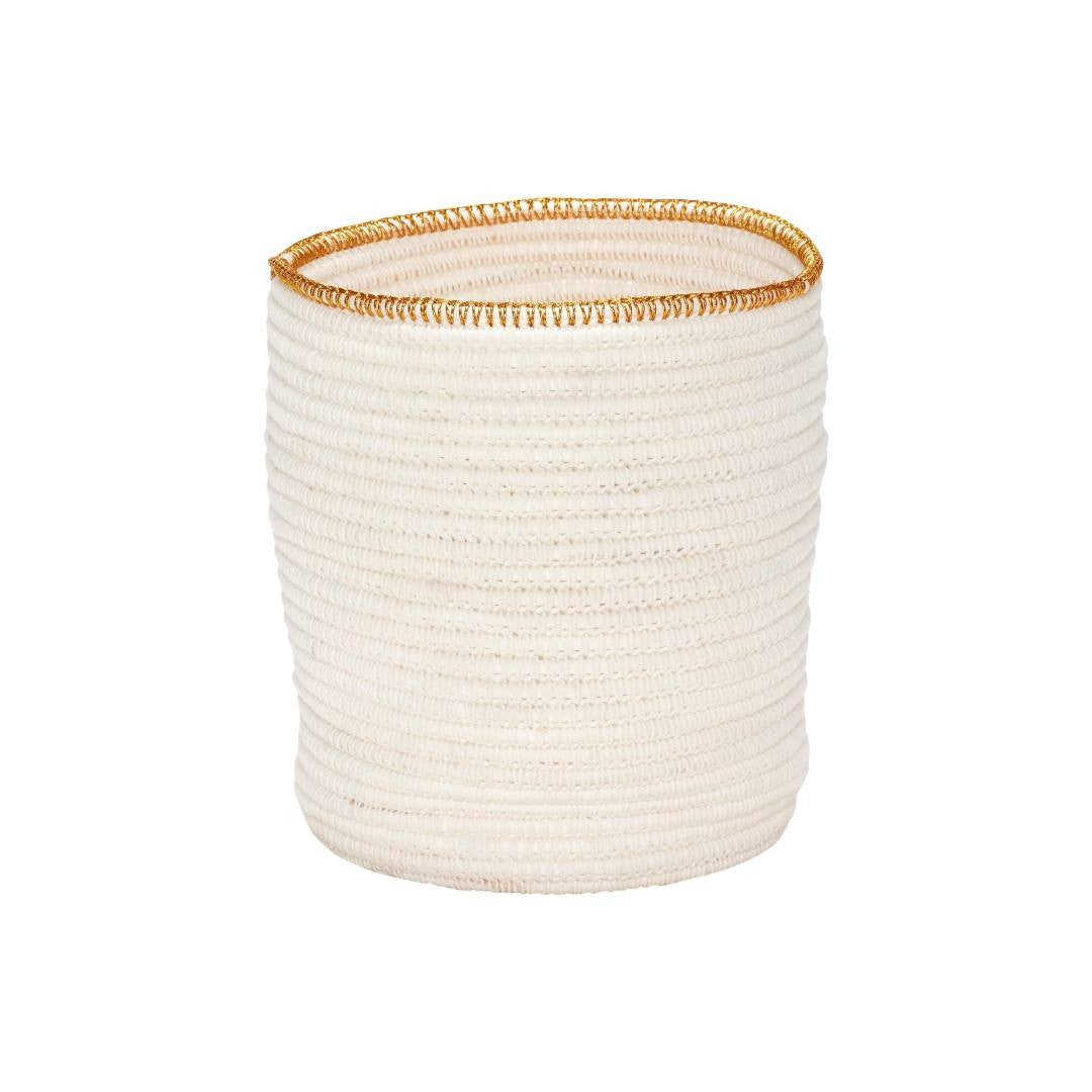 Basket with gold edge, white, set of 2