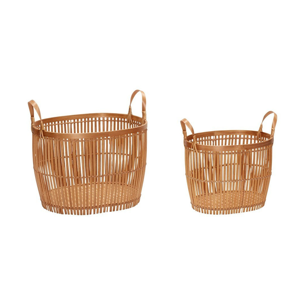Basket with handle, round, bamboo, nature, set of 2