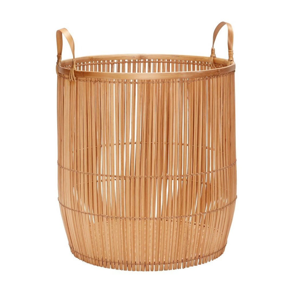 Basket with handle, round, bamboo, nature