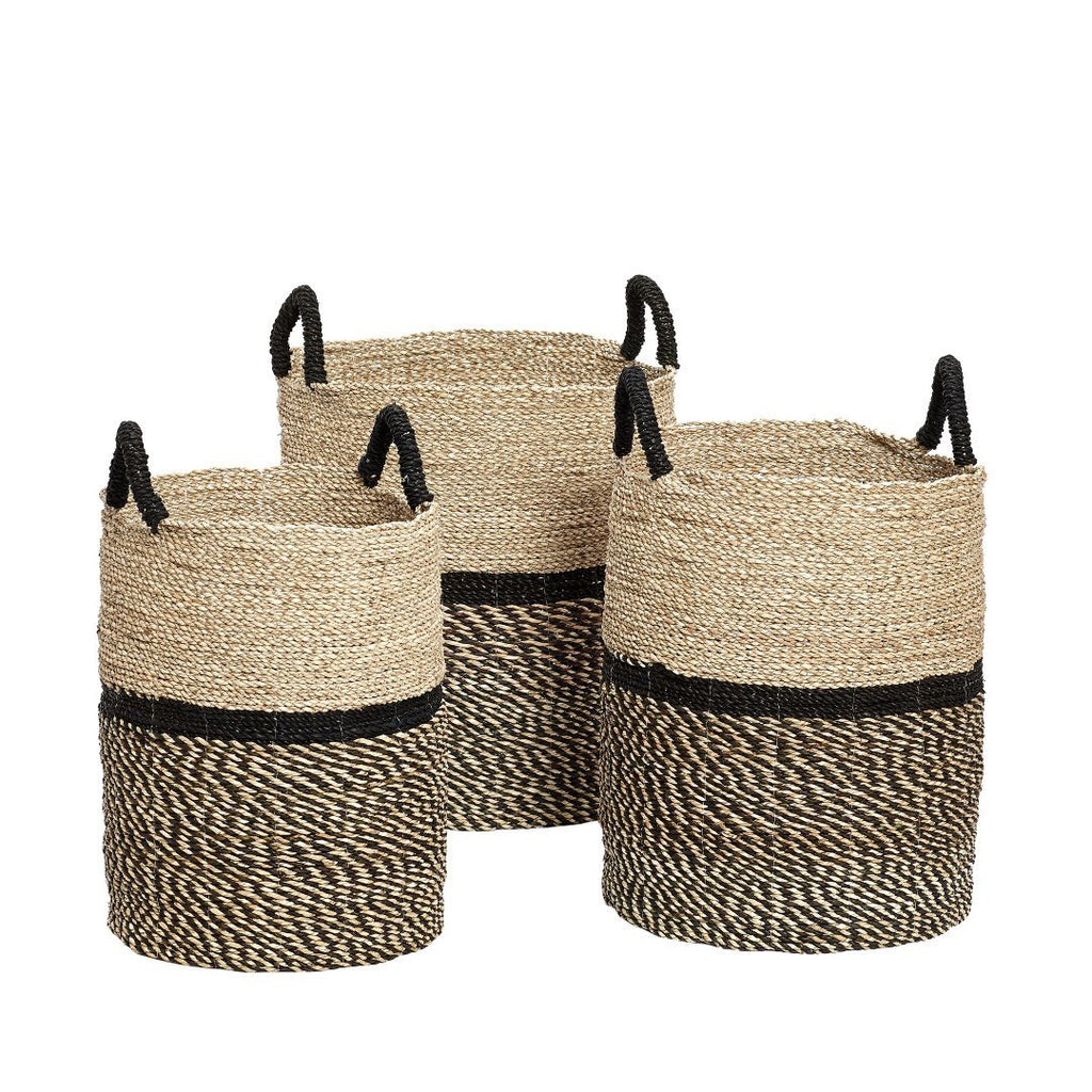Basket, round, seagrass, nature/black, set of 3