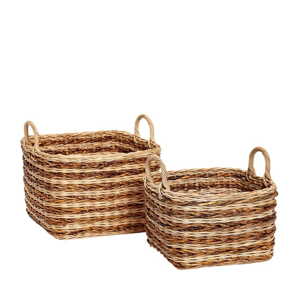 Basket, rattan, nature/brown, set of 2