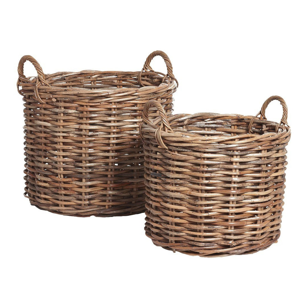 Basket with handle, round, set of 2