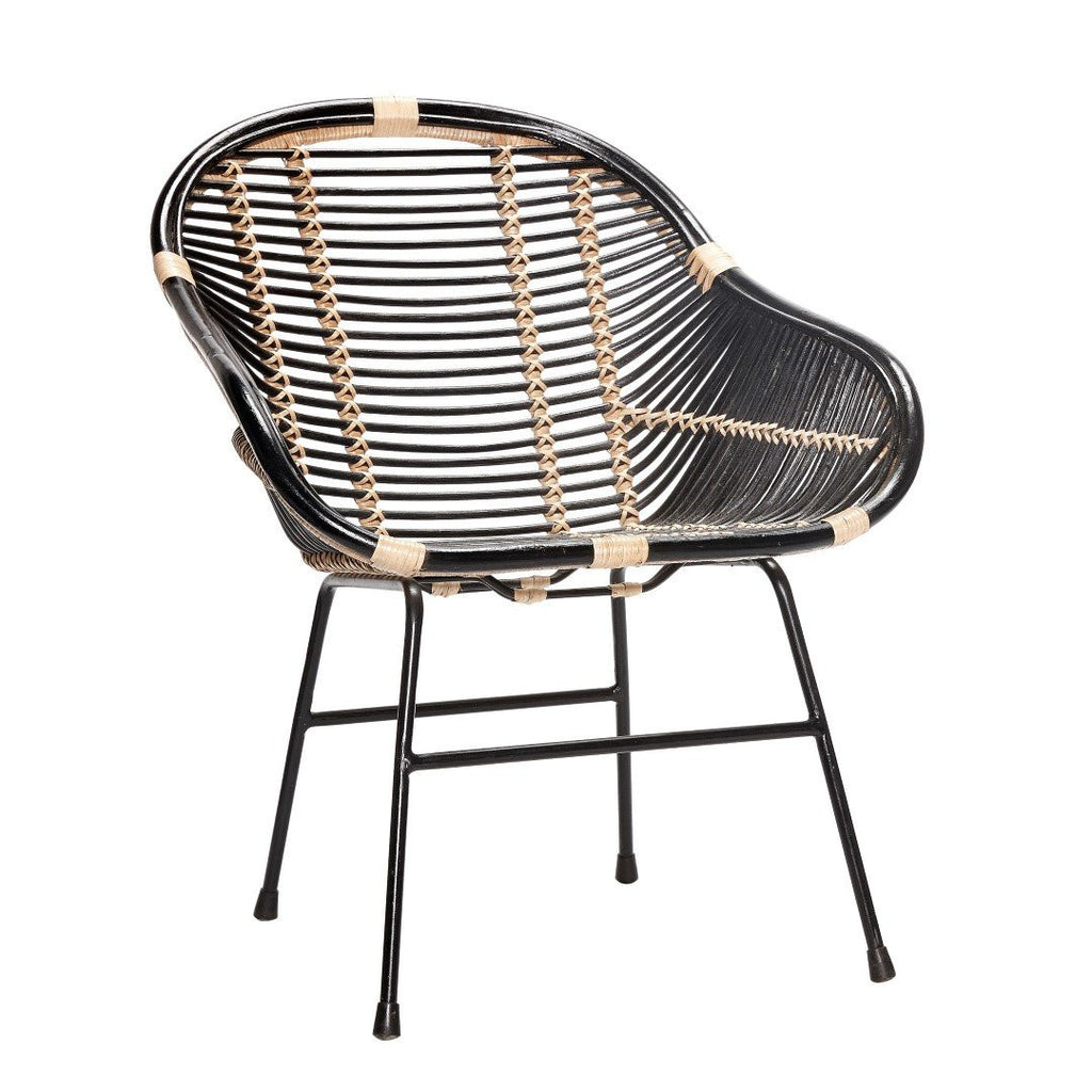 Chair with metal legs, rattan, black