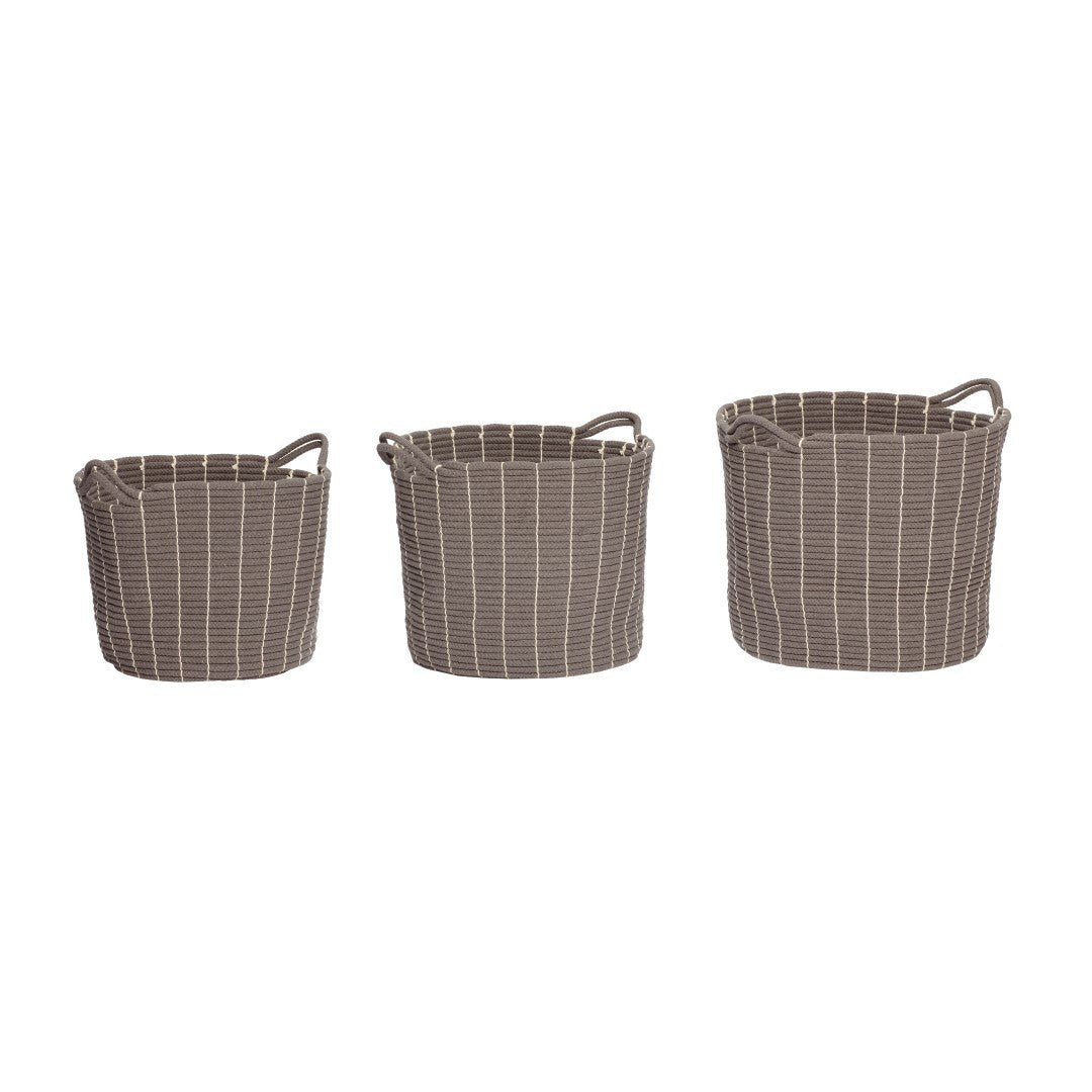 Basket with handle, round, cotton, set of 3